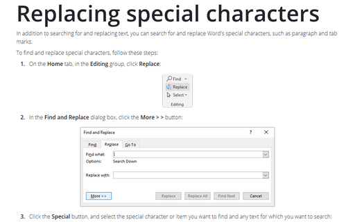 Replacing special characters
