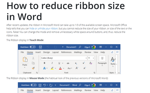 How to reduce ribbon size in Word