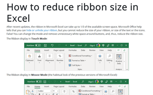 How to reduce ribbon size in Excel