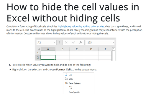 How to hide the cell values in Excel without hiding cells