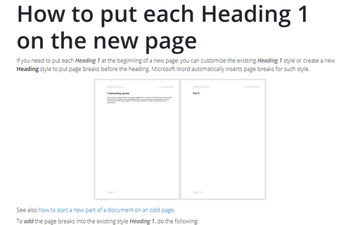 How to put each Heading 1 on the new page