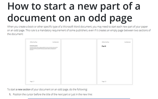 How to start a new part of a document on an odd page