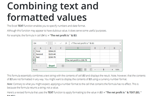 Combining text and formatted values