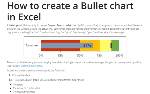 How to create a Bullet chart in Excel