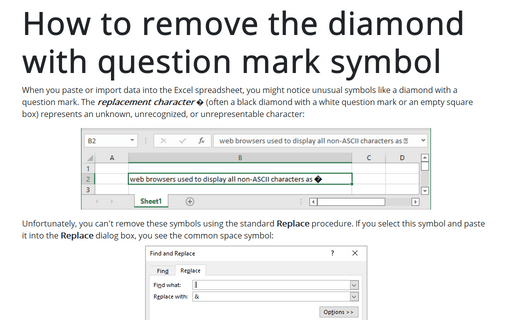 How to remove the diamond with question mark symbol