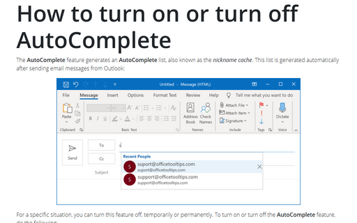 How to turn on or turn off AutoComplete