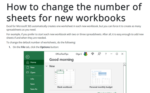 How to change the number of sheets for new workbooks