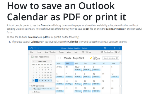 How to save an Outlook Calendar as PDF or print it