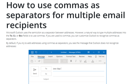How to use commas as separators for multiple email recipients