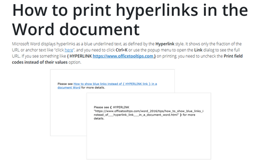 How to print hyperlinks in the Word document