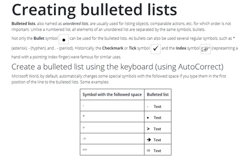 Creating bulleted lists