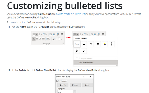 Customizing bulleted lists