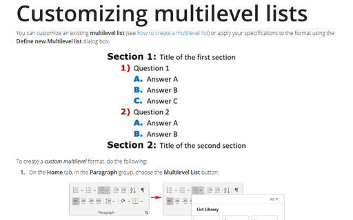 Customizing multilevel lists