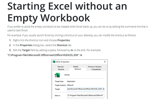 Starting Excel without an Empty Workbook