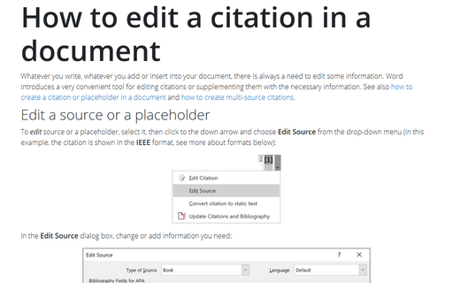 How to edit a citation in a document
