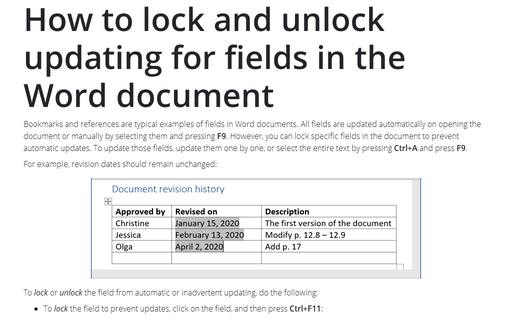 How to lock and unlock updating for fields in the Word document