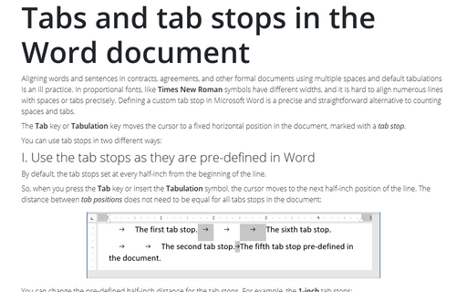 Tabs and tab stops in the Word document