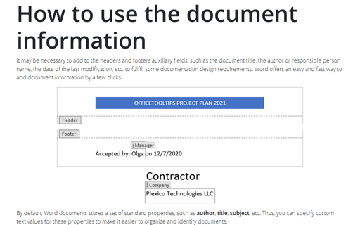 How to use the document information