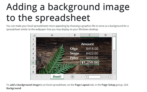 Adding a background image to the spreadsheet