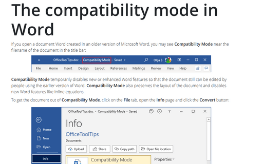 The compatibility mode in Word