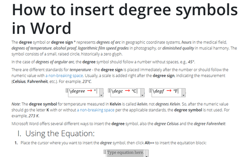 How to insert degree symbols in Word