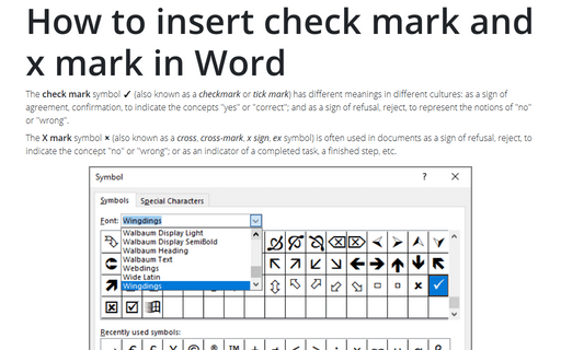 How to insert check mark and x mark in Word