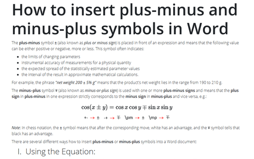 How to insert plus-minus and minus-plus symbols in Word