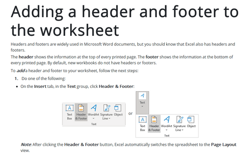 Adding a header and footer to the worksheet