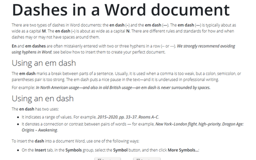 Dashes in a Word document