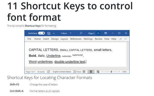 11 Shortcut Keys to control font format