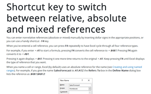 Shortcut key to switch between relative, absolute and mixed references