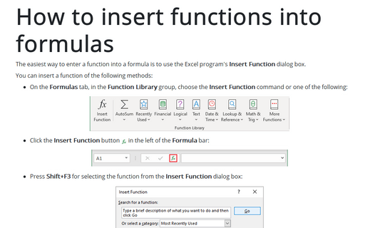 How to insert functions into formulas