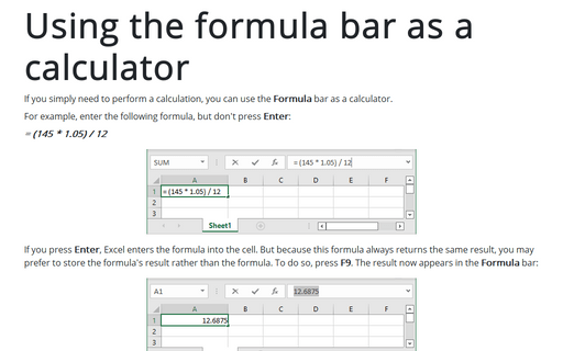 Using the formula bar as a calculator