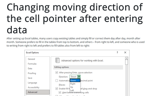 Changing moving direction of the cell pointer after entering data