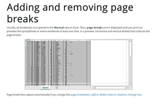 Adding and removing page breaks