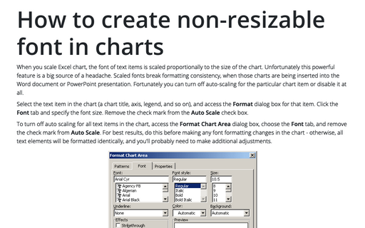 How to create non-resizable font in charts