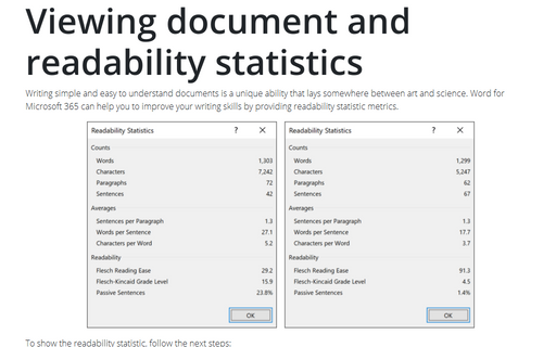 Viewing document and readability statistics