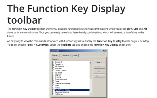 The Function Key Display toolbar