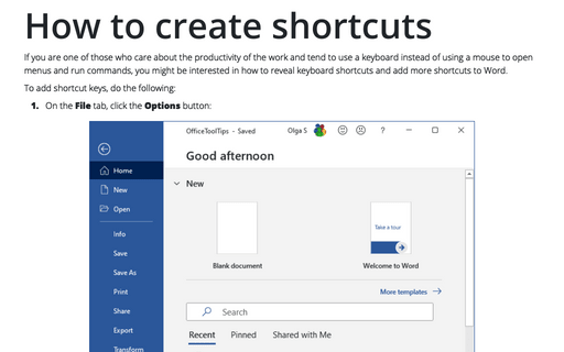 How to create shortcuts