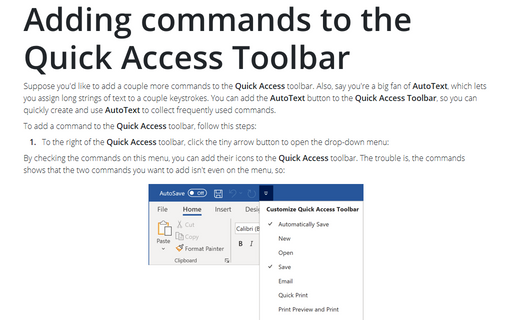 Adding commands to the Quick Access Toolbar