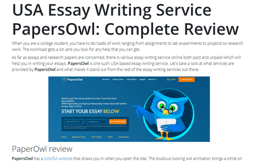 USA Essay Writing Service PapersOwl: Complete Review