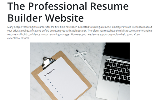The Professional Resume Builder Website