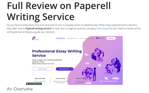 Full Review on Paperell Writing Service