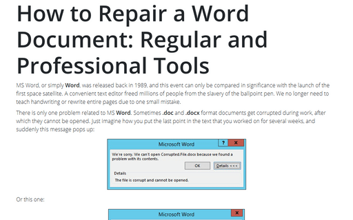 How to Repair a Word Document: Regular and Professional Tools