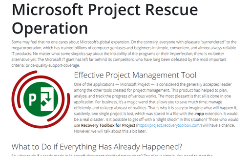 Microsoft Project Rescue Operation