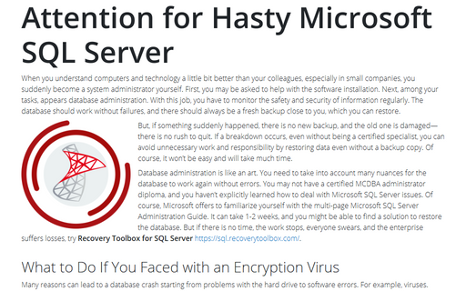 Attention for Hasty Microsoft SQL Server