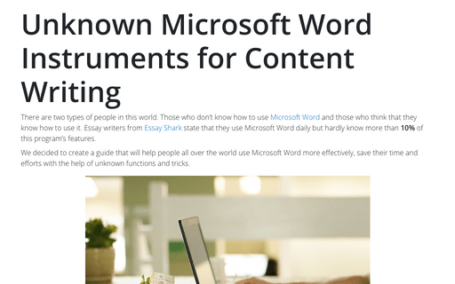 Unknown Microsoft Word Instruments for Content Writing