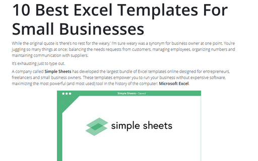 10 Best Excel Templates For Small Businesses