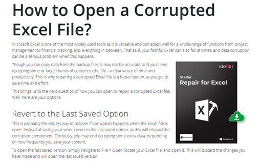 How to Open a Corrupted Excel File?