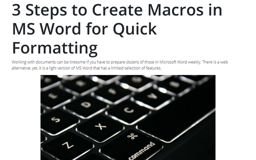 3 Steps to Create Macros in MS Word for Quick Formatting